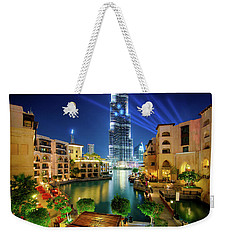 Beautiful Downtown Area In Dubai At Night, Dubai, United Arab Emirates Weekender Tote Bag