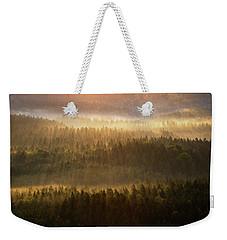 Beautiful Foggy Forest During Autumn Sunrise, Saxon Switzerland, Germany Weekender Tote Bag