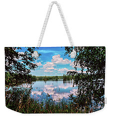 beautiful forest lake in Sunny summer day Weekender Tote Bag