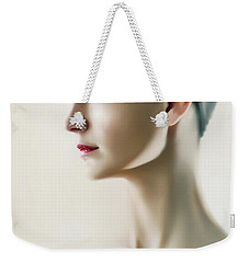 Weekender Tote Bag featuring the photograph Beautiful Model Highkey Fashion Studio Portrait by Dimitar Hristov