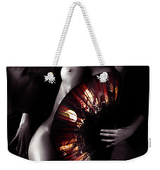 Beautiful Naked Woman Body Covered With Oriental Red Fan Artisti Weekender Tote Bag