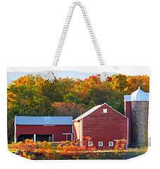 Weekender Tote Bag featuring the painting Beautiful Red Barn 2 by Lanjee Chee