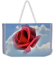 Beautiful Red Rose Cuddled By Cumulus Weekender Tote Bag