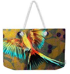 Weekender Tote Bag featuring the digital art Beautiful Scissor-tailed Flycatchers by Iowan Stone-Flowers