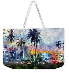 Beautiful South Beach Watercolor Weekender Tote Bag