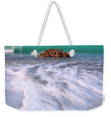 Weekender Tote Bag featuring the photograph Beautiful Waves Under Full Moon At Coral Cove Beach In Jupiter, Florida by Justin Kelefas