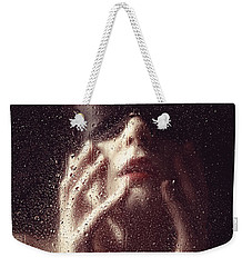 Beautiful Woman Photographed Behind A Window With Rain Drops Weekender Tote Bag