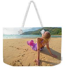 Beautiful Woman Sunbathing On Beach Weekender Tote Bag