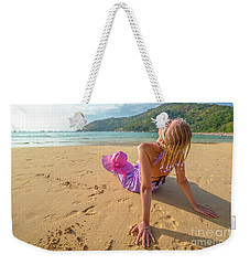 Beautiful Woman Sunbathing On Beach Weekender Tote Bag