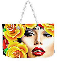 Beautiful Woman Yellow Roses Pop Art Weekender Tote Bag