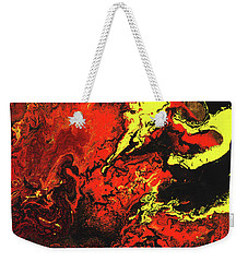 Beauty And The Beast - Powerful Red Yeellow And Black Abstract Art Painting Weekender Tote Bag