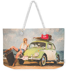 Weekender Tote Bag featuring the digital art Beauty And The Beetle - Road Trip No.1 by Serge Averbukh