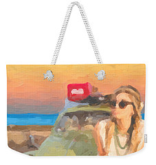 Weekender Tote Bag featuring the digital art Beauty And The Beetle - Road Trip No.2 by Serge Averbukh