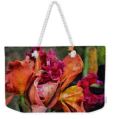 Weekender Tote Bag featuring the mixed media Beauty Of An Orchid by Trish Tritz