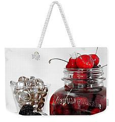 Beauty Of Red Cherries Weekender Tote Bag by Sherry Hallemeier