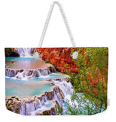 Weekender Tote Bag featuring the painting Beaver Falls Grand Canyon Painting by Dr Bob Johnston