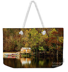 Beaver's Bend Canoe Hut Weekender Tote Bag by Tamyra Ayles