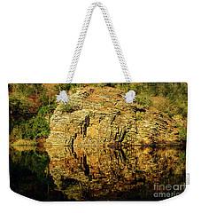 Beaver's Bend Rock Wall Reflection Weekender Tote Bag by Tamyra Ayles