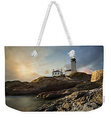 Weekender Tote Bag featuring the photograph Beavertail Light by Robin-Lee Vieira