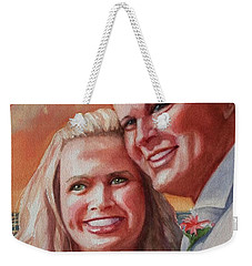 Weekender Tote Bag featuring the painting Becky And Chris by Marilyn Jacobson