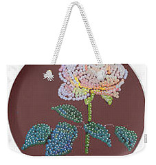 Weekender Tote Bag featuring the digital art Bedazzed Rose Plate by R  Allen Swezey