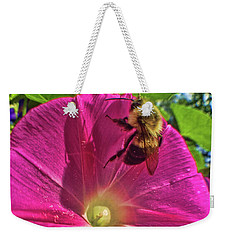 Bee And Morning Glory Weekender Tote Bag by Todd Breitling