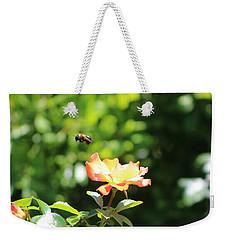 Bee Flying From Peach Petal Rose Weekender Tote Bag