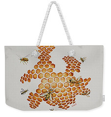 Weekender Tote Bag featuring the painting Bee Hive # 1 by Katherine Young-Beck