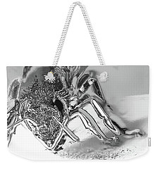 Weekender Tote Bag featuring the photograph Bee In Macro Chrome by Micah May
