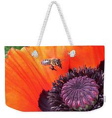 Bee Is Visiting A Poppy Weekender Tote Bag