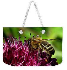 Bee On A Dark Pink Flower Weekender Tote Bag