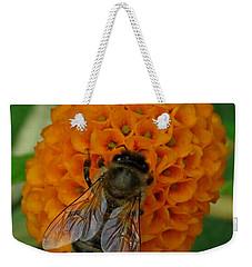 Bee On An Orange Ball Buddleia Weekender Tote Bag