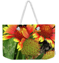 Bee On Colorful Flowers Weekender Tote Bag