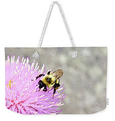 Weekender Tote Bag featuring the photograph Bee On Pink Bull Thistle by Meta Gatschenberger
