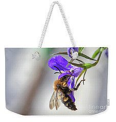 Bee On Purple Flower Weekender Tote Bag by Patricia Hofmeester