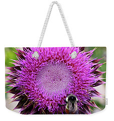 Bee On Thistle Weekender Tote Bag