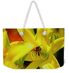 Bee On Yellow Lilly Weekender Tote Bag