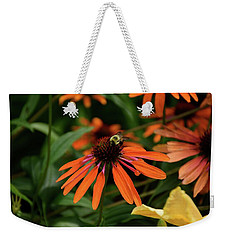Bee Pollinating On A Cone Flower Weekender Tote Bag