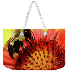 Bee Red Flower Weekender Tote Bag