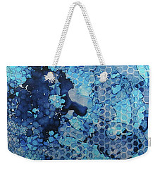 Weekender Tote Bag featuring the painting Beekeeper Blues Ink #13 by Sarajane Helm