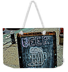 Weekender Tote Bag featuring the photograph Beer Sign by Sandy Moulder