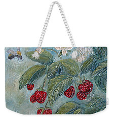Bees Berries And Blooms Weekender Tote Bag by Phyllis Howard