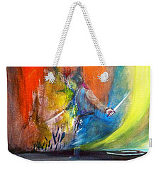 Weekender Tote Bag featuring the painting Before The Duel by Kicking Bear  Productions