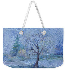 Weekender Tote Bag featuring the painting Begining Of Another Winter by Anna  Duyunova