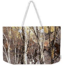 Weekender Tote Bag featuring the painting Beginning by Tatiana Iliina