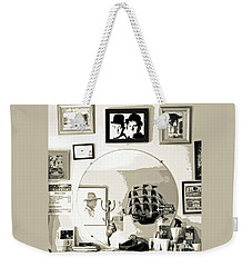 Weekender Tote Bag featuring the photograph Behind The Barber Chair by Joe Jake Pratt