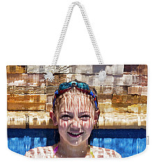 Weekender Tote Bag featuring the photograph Behind The Falls by Linda Lees