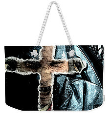 Weekender Tote Bag featuring the mixed media Behind The Thin Veil Of The Cross by Reed Novotny