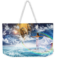 Weekender Tote Bag featuring the digital art Behold, He Is Coming  by Dolores Develde