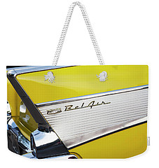 Weekender Tote Bag featuring the photograph Bel Air Tail Fin by Toni Hopper